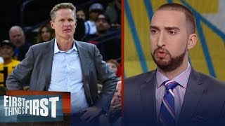 Nick Wright on Steve Kerr allowing players to coach in blowout win against Suns | FIRST THINGS FIRST | Kholo.pk