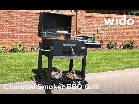 BLACK CHARCOAL SMOKER BBQ AMERICAN STYLE BARBECUE GRILL GRATE TEMP