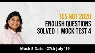 tcs nqt 2020 english questions solved mock test 3 discussion