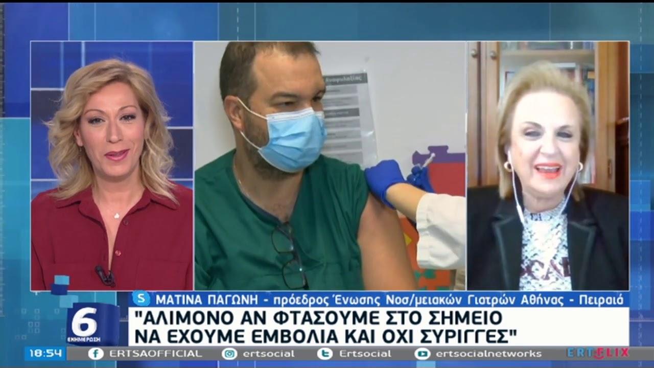 Μ. Παγώνη: Αλίμονο αν φτάσουμε στο σημείο να έχουμε εμβόλια και όχι σύριγγες   06/01/2021   ΕΡΤ