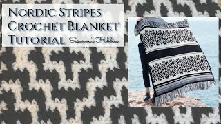 Mosaic Crochet Blanket Tutorial Nordic Stripes Crochet Blanket In The Rows スザンナのホビー