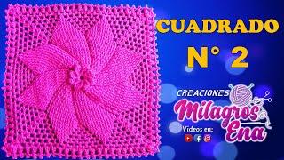 Cuadrado Tejido A Crochet ESTRELLA EN RELIEVES Para Cojines, Colchas Y Cobijas Para Bebe