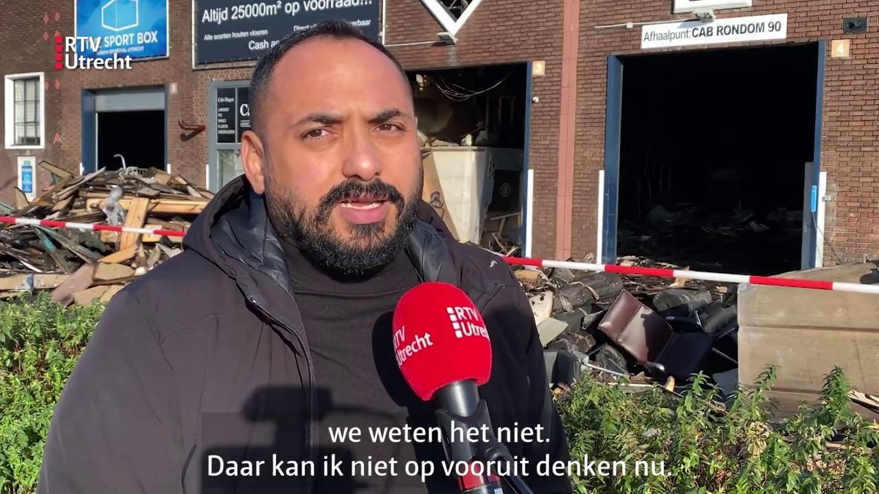 Grote brand in Utrechts CAB-gebouw: 'Dit kan de genadeklap voor ons zijn'  [RTV Utrecht]