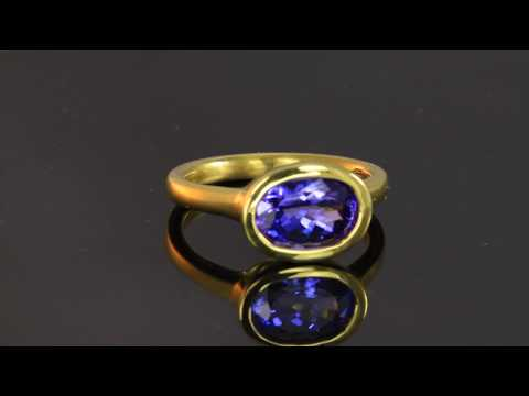 Tanzanite Ring in 22 Karat Yellow Gold 2.74 Carats