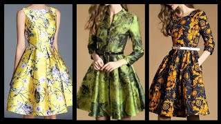 Fabulous Most Outstanding Designer Floral Print Knee Length Skater Dresses Design Ideas For Girls
