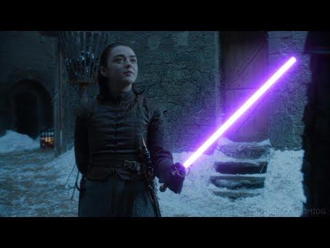 Арья Старк и Бриенна Тарт — битва на световых мечах