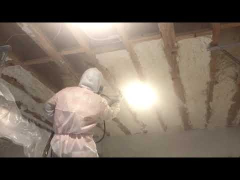 Our insulation crew was able to spray foam this garage ceiling