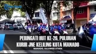 Peringati HUT Ke 26 Puluhan Kurir JNE KelilingKota Manado