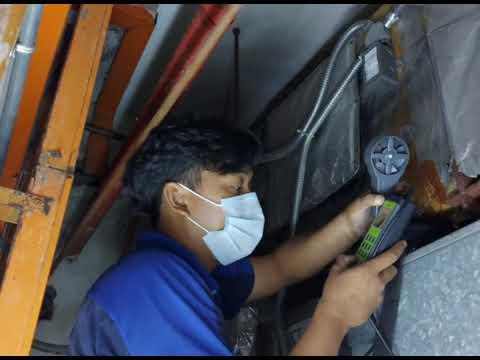 Checking air flow Air Handling Unit (AHU) at PNB Kenanga Building.
