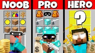 Minecraft Battle: NOOB vs PRO vs HEROBRINE: BANK ROBBERY CRAFTING CHALLENGE / Animation