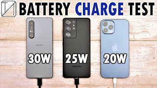 Sony Xperia 1 III vs Samsung S21 Ultra vs iPhone 12 Pro Max Charging Speed Test!