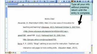 how to make work cited page
