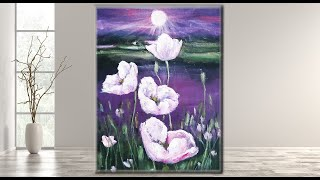 Step By Step Acrylic Painting On Canvas For Beginners/  Moon Light Night Painting  /MariArtHome