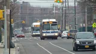 preview picture of video 'MTA Bus: 2007 Orion VII #3501 & 2012 New Flyer C40LF #600 Q22 Buses at B 67th St-Beach Channel Dr'