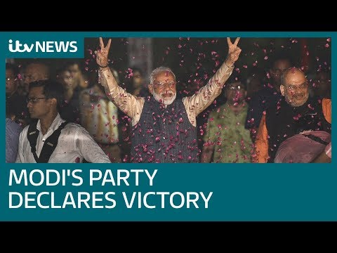 Modi's party declares victory as they build commanding lead in general election | ITV News
