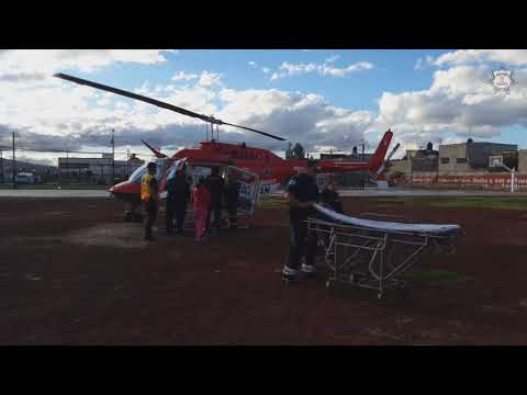 Helicóptero El Guerrero traslada a niña con lesiones graves por caída