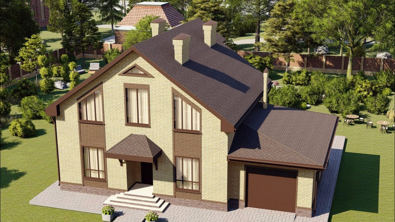 Проект небольшого одноэтажного дома с мансардой и гаражом 163 м2