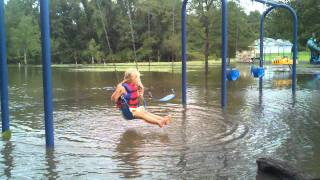 preview picture of video 'Centreville Maryland Millstream park swinging after hurricane irene'