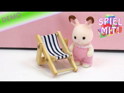 Deko-Liegestuhl - Mini Liegestuhl aus Holz zB für Puppenhaus und Sylvanian Families