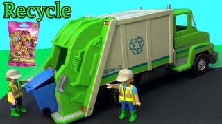 PLAYMOBIL Green Recycling Truck&Surprise Mystery Blind Bag Unboxing Toy Review