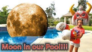 Moon Falls Into Our Pool!!! Massive Monster Mayhem Pretend Play!