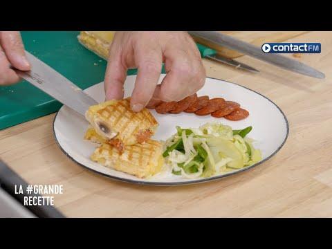 Club Sandwich au fromage à raclette, champignons et chorizo