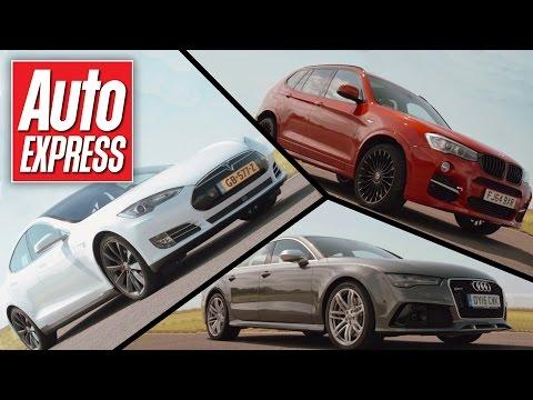Tesla Model S P85D vs Audi RS7 vs Alpina XD3 track battle
