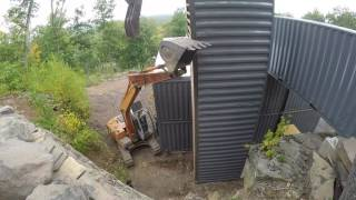 Standing up shipping container tower