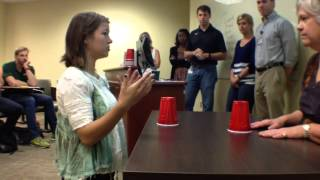 Physical therapy students use the Cup Song to teach new skills