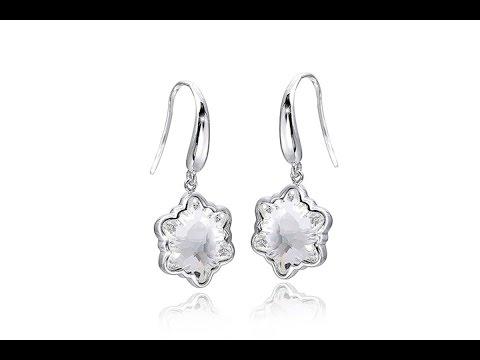 MATERIA Ohrhänger Sterne Eiskristall mit Swarovski Crystals weiß