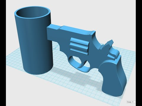 123d Design Cup With Gun Handle For 3d Printing