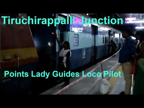 Loco Interchange Points Lady Helps WAP1 Loco Pilot - Tiruchirappalli Junction