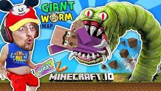 FGTEEV FAT BOY EATS VILLAGERS in MINECRAFT.io Destructive Worms Slither.io Mini-Game Adventure Map