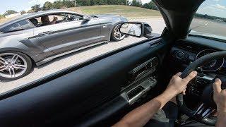 NITROUS ROUSH BLOWS TRANS ON THE STREET | Shelby GT350 vs FBO Roush Mustang
