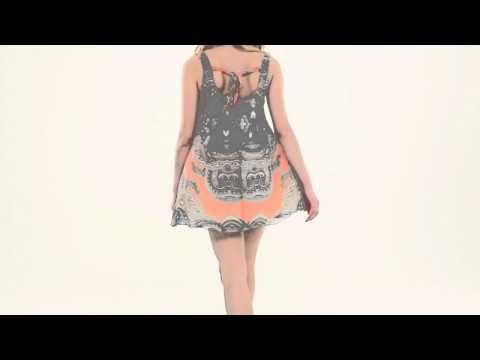 LOVE Peach Paisley Print Tie Back Dress
