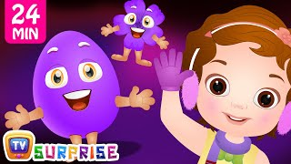 Learn PURPLE Colour with Funny Egg Surprise Toys & Songs | ChuChuTV Colorful Surprise Eggs for Kids