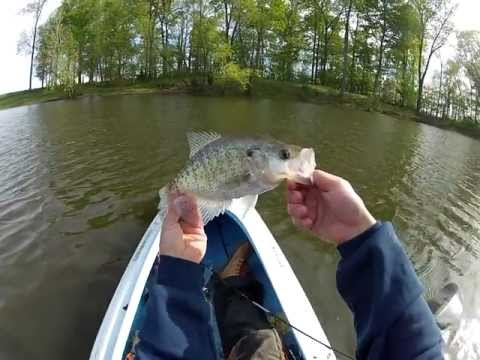 GoPro Kayak Pond Fishing, Nice Crappie