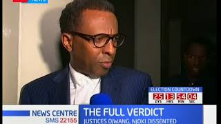 President Uhuru's lawyer Ahmednasir Abdullahi reacts to the full verdict