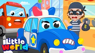 Fire Truck & Police Car To The Rescue | Little Angel Kids Songs & Nursery Rhymes