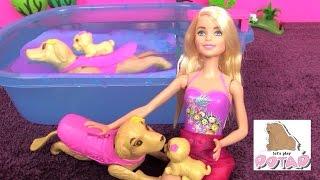 Играем в Куклы Барби. Собачки Плавают Сами! Костюм Барби Меняет Цвет в Воде. Игрушки для Девочек
