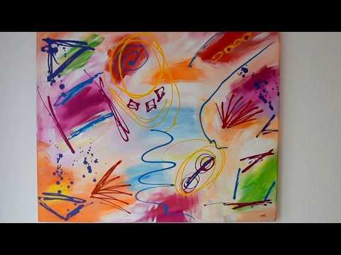 "Acrylbild bunt, Handgemalte Wandbild auf Leinwand: ""Colors of happiness"""