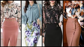 Outstanding Trendy Fabulous High Waisted Pencil Skirts With Floral Print Ruffle Chiffon Blouses Desi