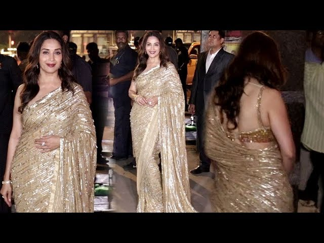 Madhuri Dixit L00ks Gorgeous In Golden Saree Bachchan S Diwali Party 2019