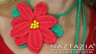 DIY Learn to Crochet Poinsettia Flower Tutorial (Pointsetta, Pointsettia, Pointseta, Poinseta)