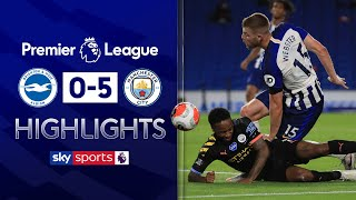 SUBSCRIBE ► http://bit.ly/SSFootballSub PREMIER LEAGUE HIGHLIGHTS ► http://bit.ly/SkySportsPLHighlights Highlights from the Premier League as Manchester City cruised to a convincing 5-0 win away at Brighton through a Raheem Sterling hat-trick and goals from Gabriel Jesus and Bernardo Silva.  Watch Premier League LIVE on Sky Sports here ► http://bit.ly/WatchSkyPL ►TWITTER: https://twitter.com/skysportsfootball ►FACEBOOK: http://www.facebook.com/skysports ►WEBSITE: http://www.skysports.com/football  MORE FROM SKY SPORTS ON YOUTUBE: ►SKY SPORTS CRICKET: https://bit.ly/SubscribeSkyCricket ►SKY SPORTS BOXING: http://bit.ly/SSBoxingSub ►SOCCER AM: http://bit.ly/SoccerAMSub ►SKY SPORTS F1: http://bit.ly/SubscribeSkyF1