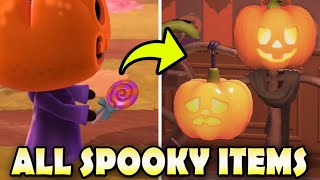🎃 ALL 17 SPOOKY ITEMS & How To Get Them EASY In Animal Crossing New Horizons!