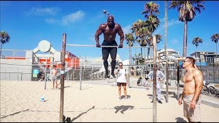 Kali Muscle Hanging at Muscle Beach | 16 Muscle-Ups (240LBS)