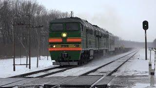 Тепловозы 2ТЭ116К-480 и 2ТЭ116-1408 с рельсовозным грузовым поездом