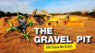 FPV follow me action at gravel pit - Cinematic freestyle race - 4k