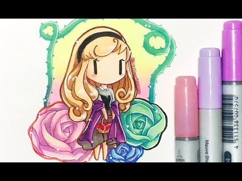 Copic Marker Drawing ♥ Chibi Aurora From Sleeping Beauty (Kawaii Ver.)